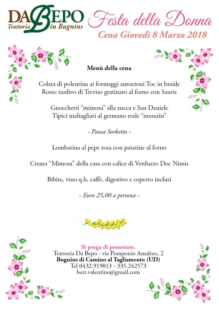 Festa Donna Da Bepo 2018 copy 724x1024 Festa della Donna, Cena Speciale alla trattoria Da Bepo