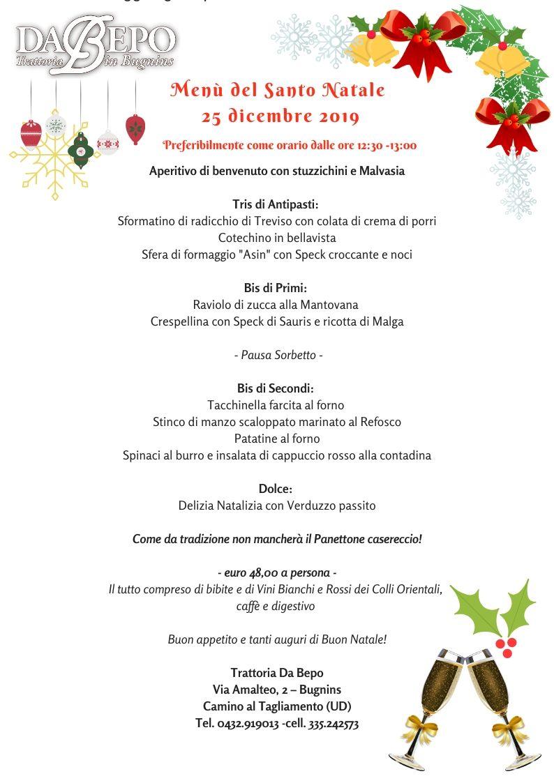 Santo Natale 2019 con prezzi ok Pranzo del Santo Natale 2019   Da Bepo Bugnins