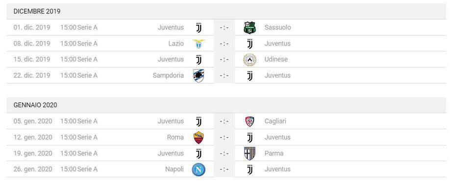 Calendario Partite Juventus 2019.Calendario Partite Juventus Stadium Pernottamenti Da