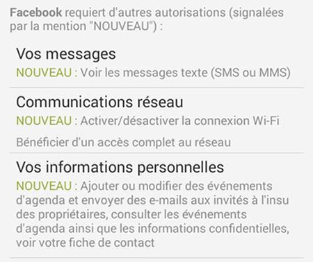 Facebook nouveaux privileges