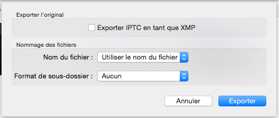Boite dialogue export Photos