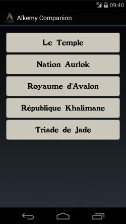 Affichage des factions disponibles dans la version 2 du Compagnon Alkemy.
