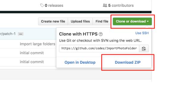 Le bouton Clone or Download fera apparaitre la fenêtre contenant le bouton Download as ZIP.