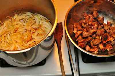 Browned the lamb, sautéing the onions