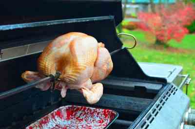 Turkey on the spit, spit on the grill, drip pan underneath