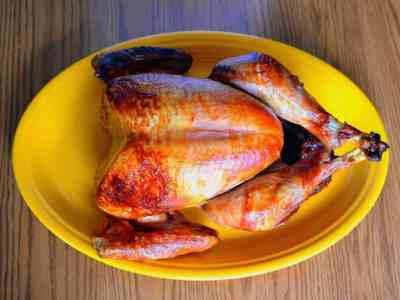 Turkey on a yellow platter