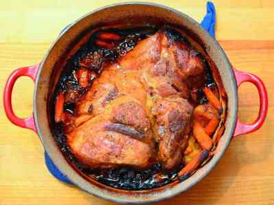 Slow Roasted Pork Shoulder with Beer and Mustard Sauce