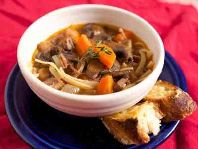 Pressure Cooker Beef Noodle Soup with Mushrooms and Carrots