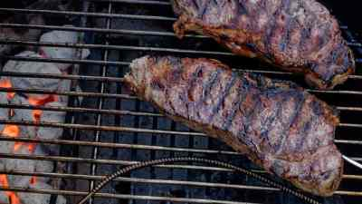 Grilled Thick Cut New York Strip Steaks, Sear and Move Style