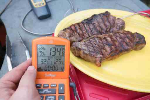 Checking the resting temperature of my steaks