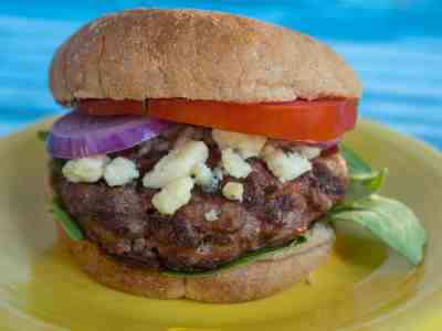 Duck Burgers with Blue Cheese and Baby Spinach