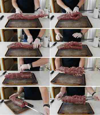 Why fold a beef tenderloin for the rotisserie?