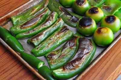 Blackening the chiles for real deal, homemade Salsa Verde