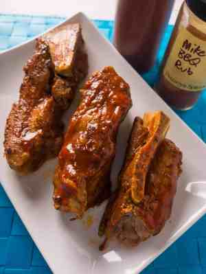 Pressure Cooker Pork Western Shoulder Ribs with Barbecue Rub and Sauce