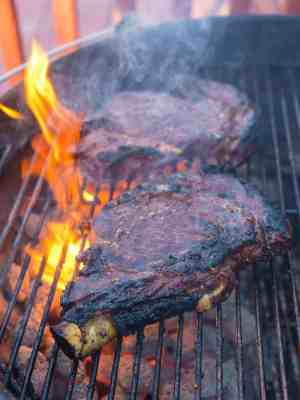 Grilled Teriyaki Ribeye Steaks, Reverse Seared