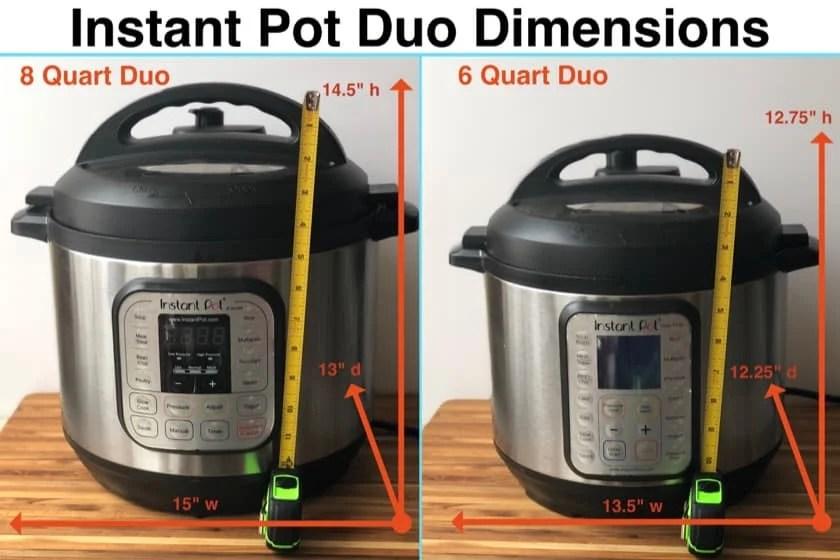 Instant Pot Duo Dimensions - 8 quart vs 6 Quart   DadCooksDinner.com