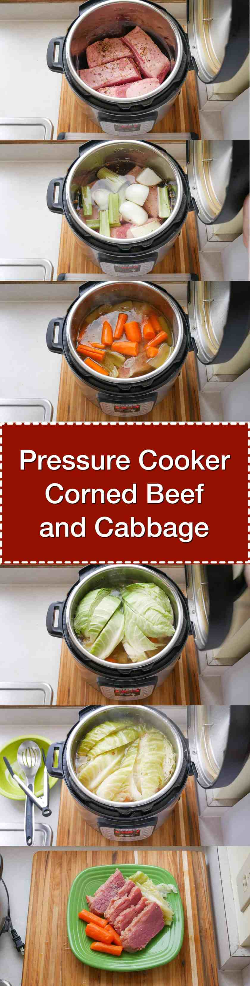 Pressure Cooker Corned Beef and Cabbage  - done in about an hour and a half, thanks to the pressure cooker. Perfect for St. Patrick's Day.