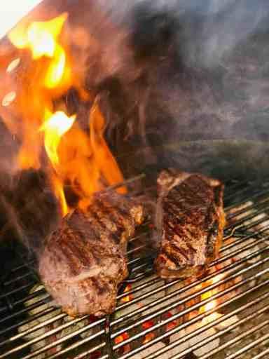 Grilled New York Strip Steaks with Caesar Salad   DadCooksDinner.com