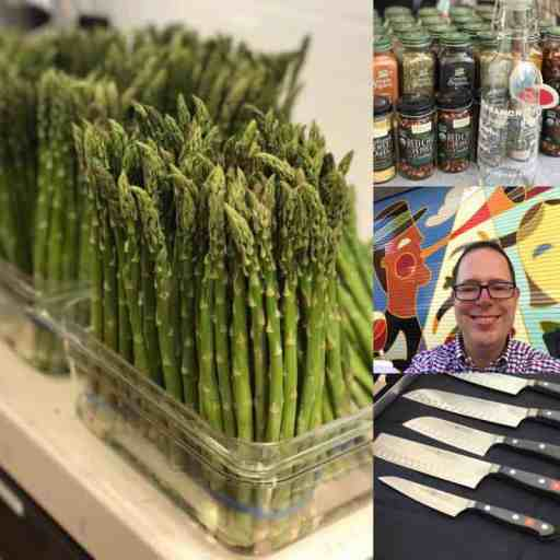 Everything Food Conference 2017 Collage of asparagus, spices, me in front of a colorful mural, and knives   DadCooksDinner.com