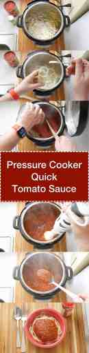 Pressure Cooker Quick Tomato Sauce - step by step tower image | DadCooksDinner.com