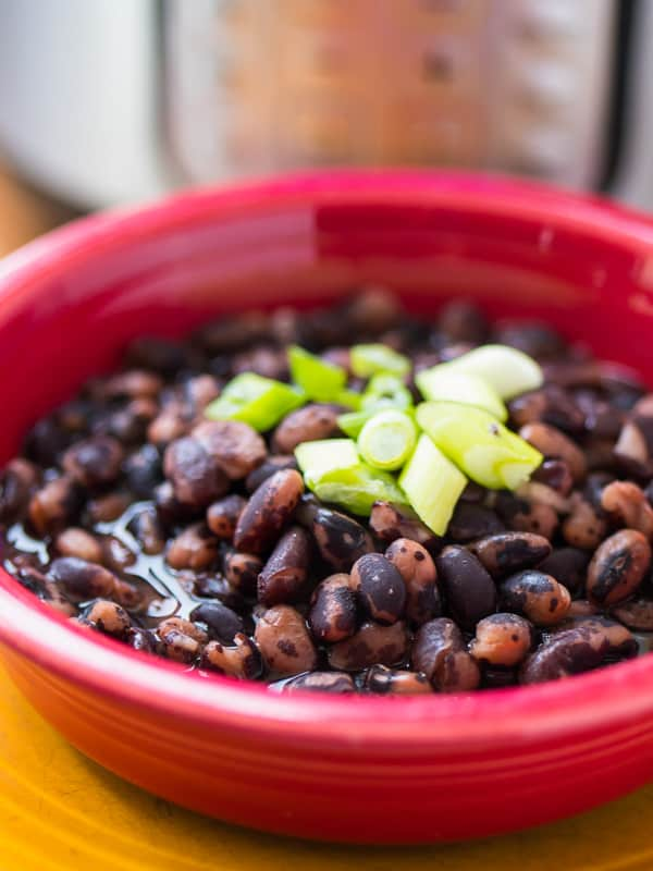Pressure Cooker Vaquero Beans in Broth - with pressure cooker in background | DadCooksDinner.com
