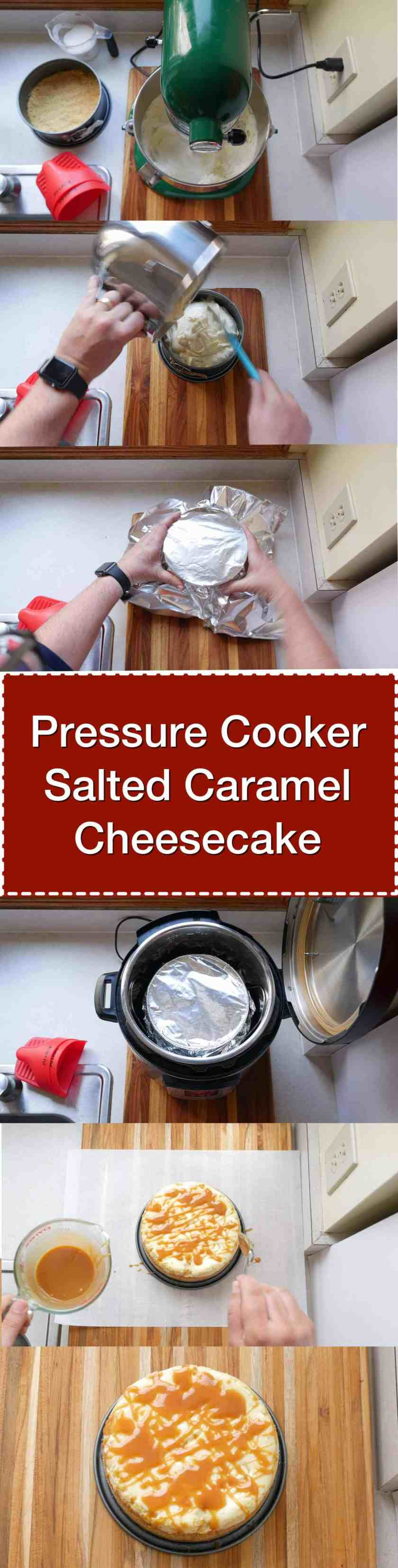 Pressure Cooker Salted Caramel Cheesecake recipe. Sweet salted caramel drizzled on top of a smooth, easy pressure cooker cheesecake.