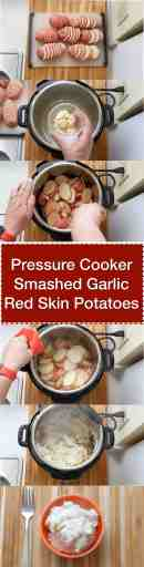 Pressure Cooker Smashed Garlic Red Skin Potatoes step by step tower | DadCooksDinner.com