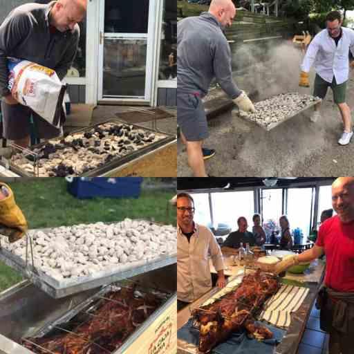 La Caja China Pig Roast - cooking steps collage | DadCooksDinner.com