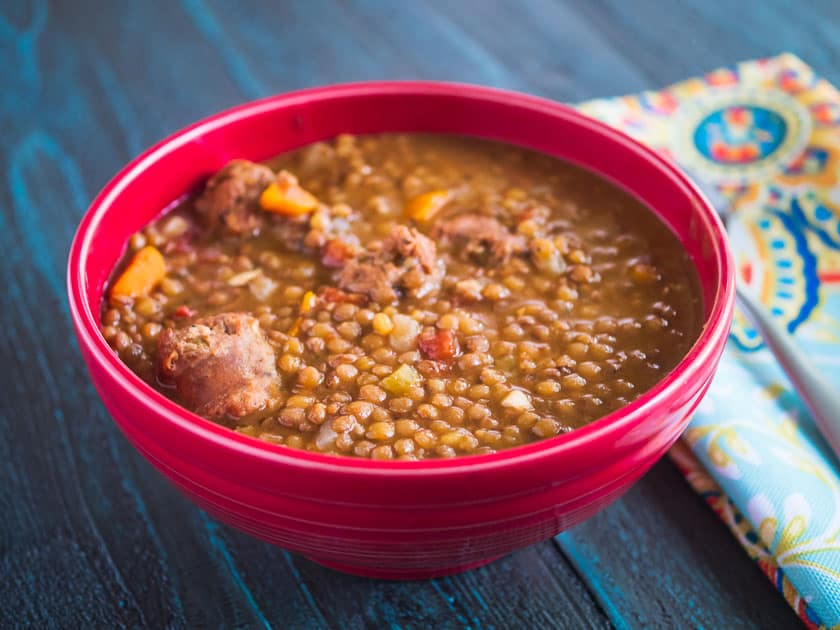Pressure Cooker Umbrian Lentils and Sausage | DadCooksDinner.com