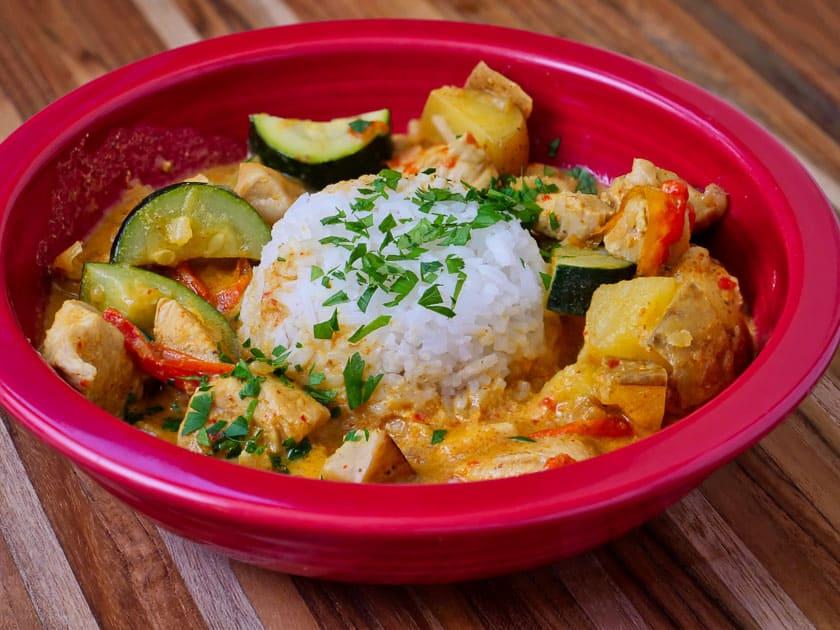 Pressure Cooker Thai Yellow Curry with Chicken | DadCooksDinner.com