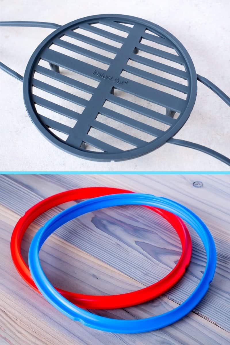 Instant Pot Silicone Steam Rack and Sealing Rings in Red/Blue