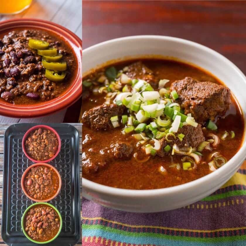 Chili Collage - three different chilis