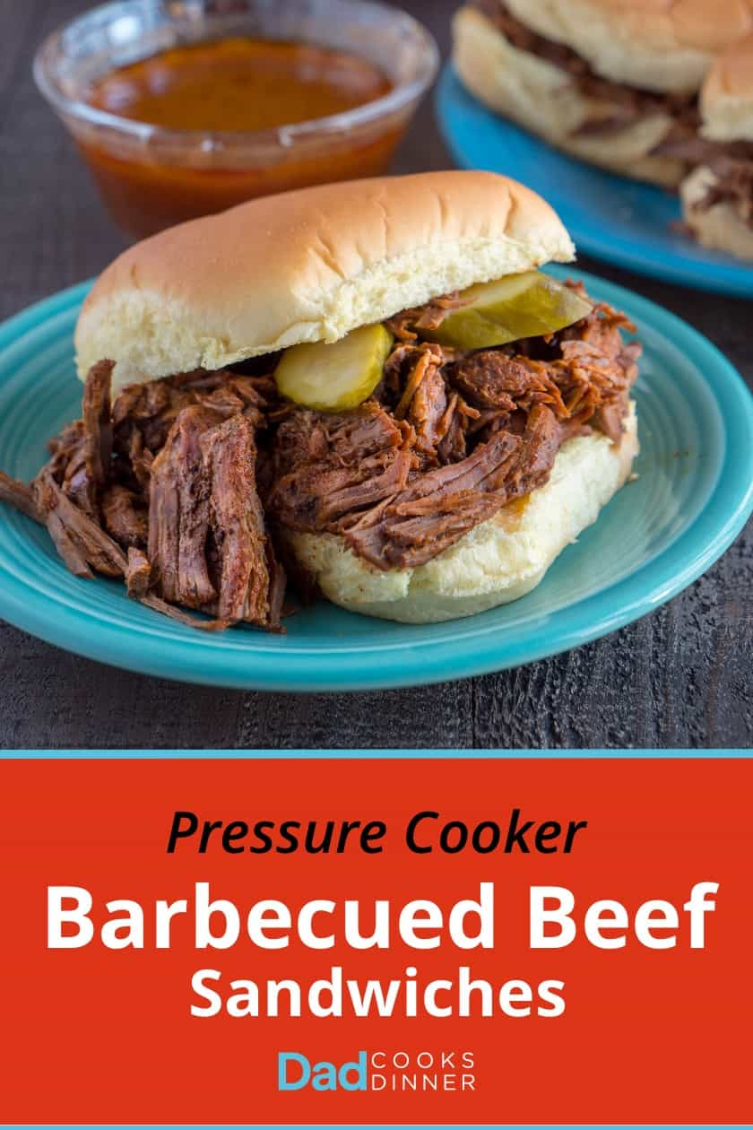 Pressure Cooker Barbecued Beef Sandwiches | DadCooksDinner.com