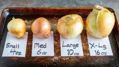 Onions, lined up by size from small to large