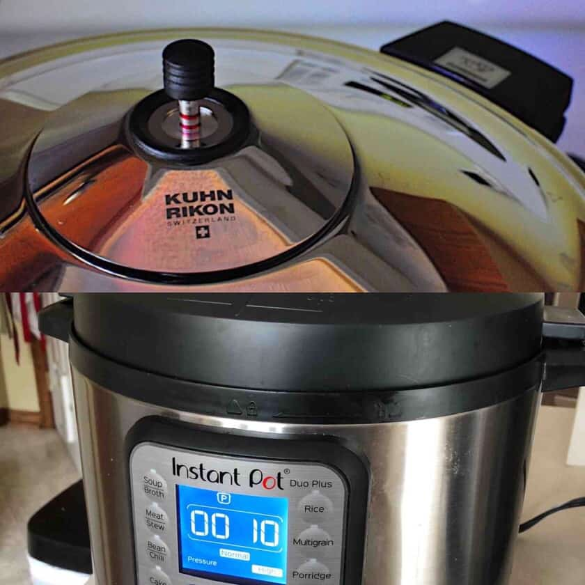 Collage with picture of a kuhn rikon pressure cooker on top and an Instant Pot Duo on the bottom