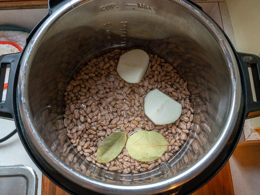 Overhead view of an Instant Pot full of uncooked pinto beans covered with water, and an onion and bay leaves floating in the water