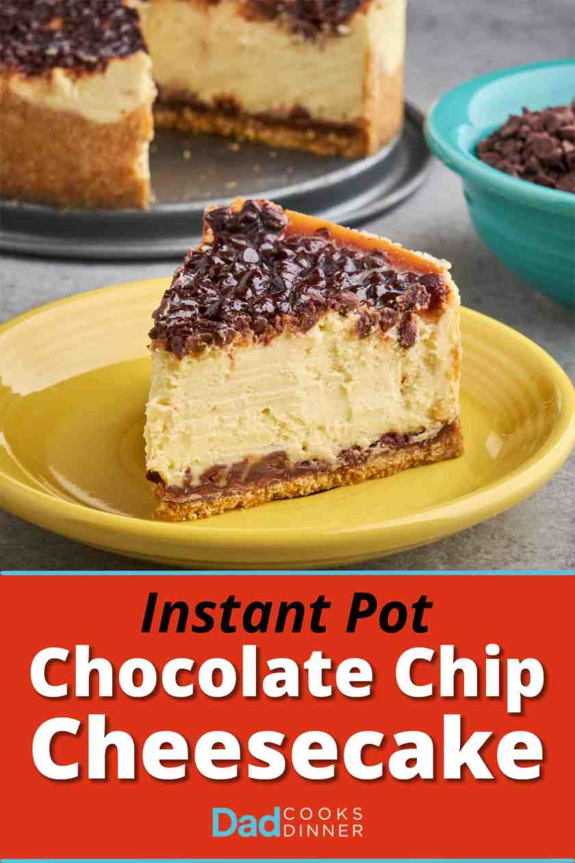 A slice of chocolate chip cheesecake on a yellow plate, with a bowl of mini chocolate chips and the cheesecake in the background