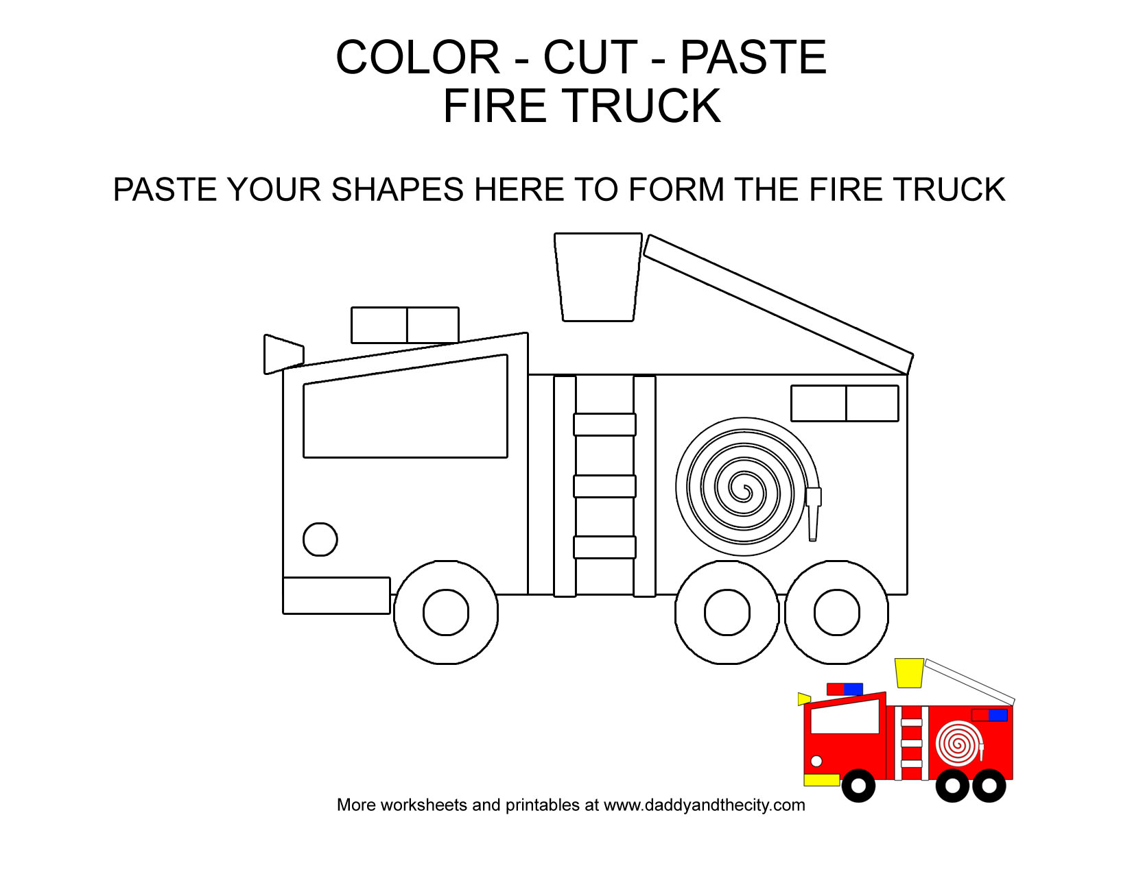 Vehicle Themed Color Cut Paste Worksheets For Toddlers Daddy And The City