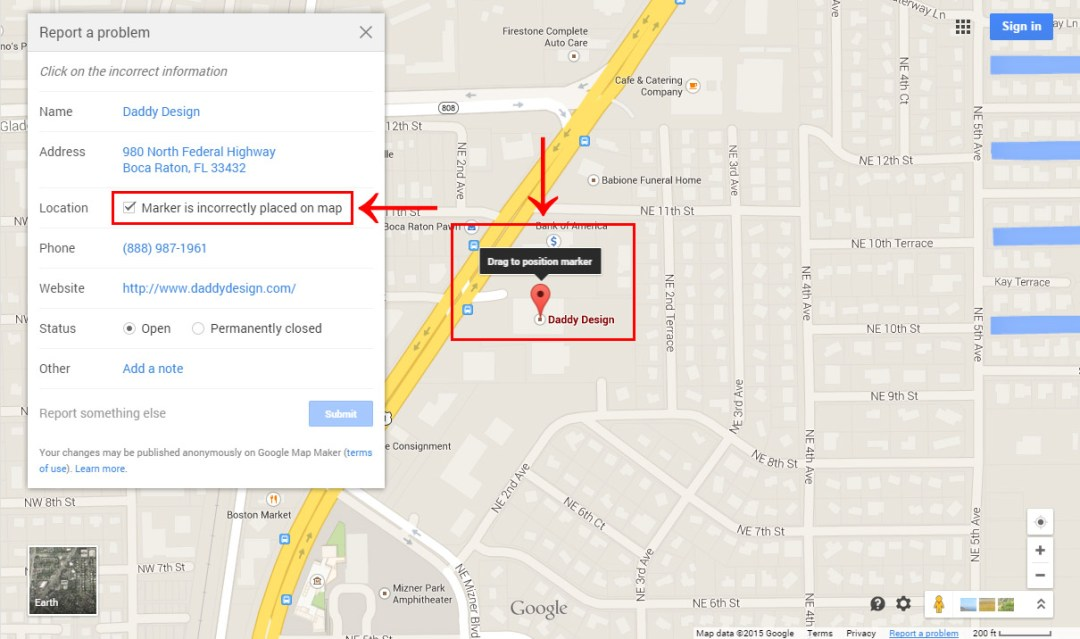 Set the Correct Google Map Marker Location