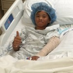 Brave boy being strong pre-op.