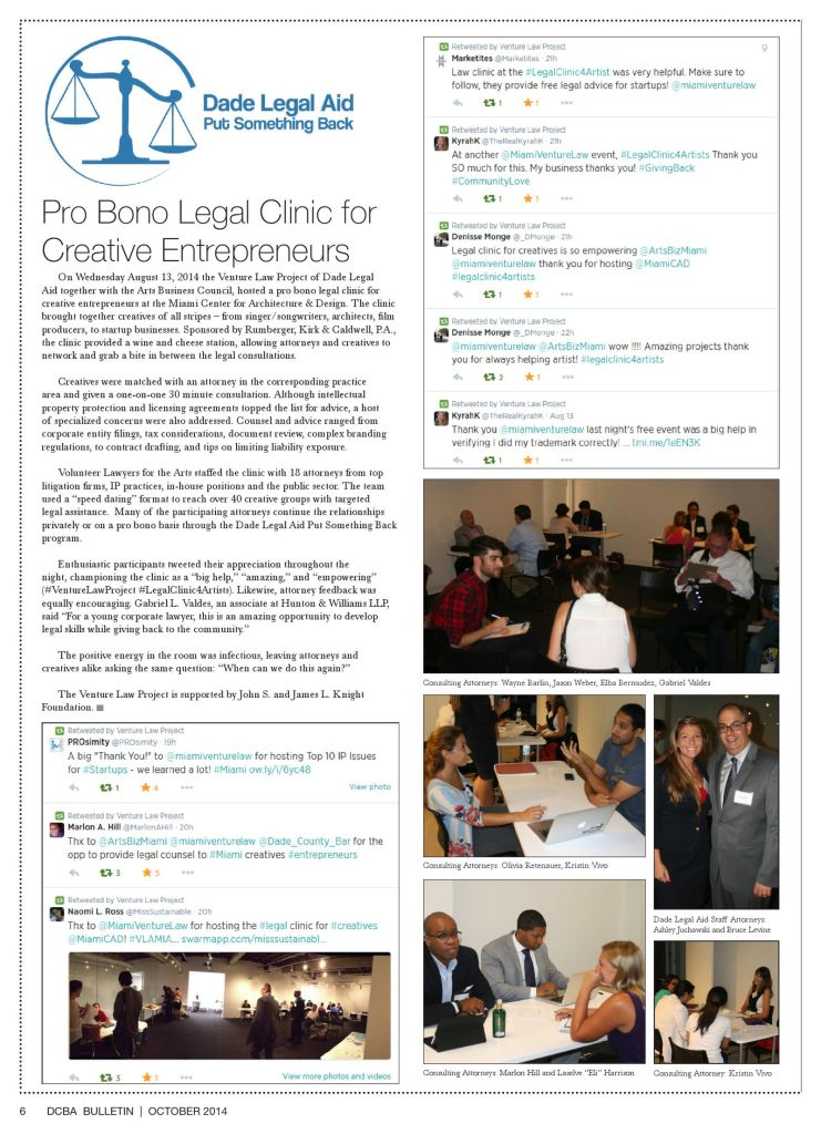 October DCBA Bulletin - Legal Clinic for Creative Entrepreneurs