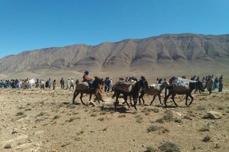 «مسيرة الأقدام» تندد بمصادرة أراضي سكان قبيلة تيمولا بالجماعة الترابية ايت هاني