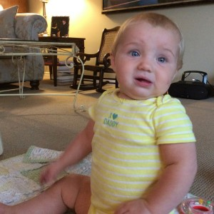 Baby thinking about crawling
