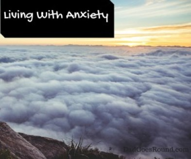 "Image of Clouds with text ""Living with Anxiety"""