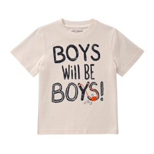 "Image of a toddler t-shirt with the words ""boys will be boys"""