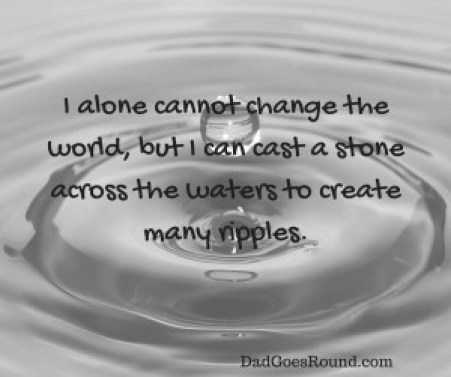 Image of water ripples with text I alone cannot change the world, but I can cast a stone across the waters to create many ripples.