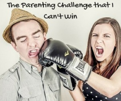 "Woman punching man with boxing gloves and text ""parenting challenge that I can't win"""