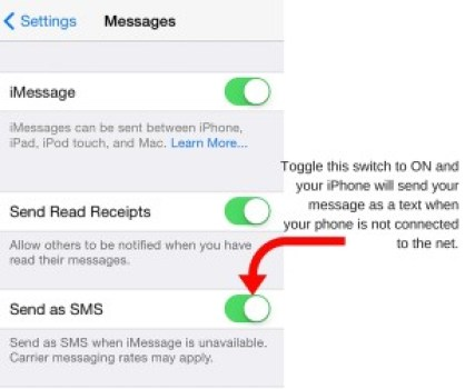 Image of iPhone messages setting screen