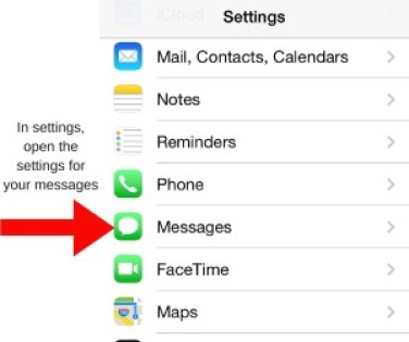 Image of iPhone settings screen