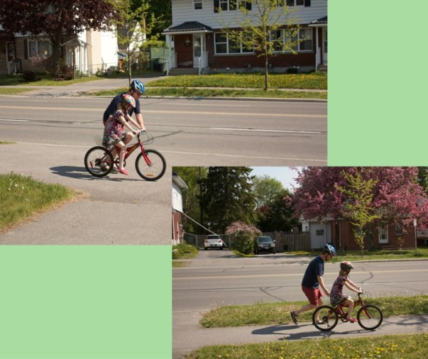 Image of dad teaching daughter to ride a bike